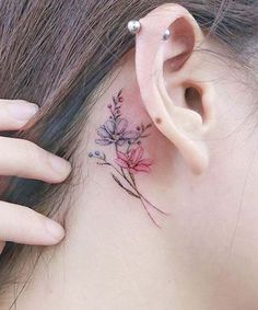 Gracefull Flower Tattoos Behind the Ear for Girls