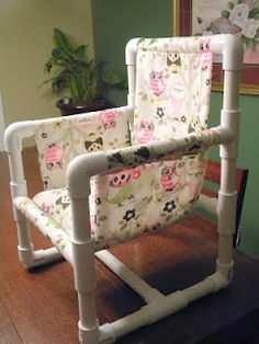 We made this Owl PVC Chair for our Granddaughter for her Birthday. It is so simple to make. I got the owl material at Hobby Lobby. Pvc Pipe Crafts, Pvc Pipe Projects, Diy Projects To Try, Lathe Projects, Pvc Pipe Furniture, Pvc Chair, Outdoor Deck Decorating, Baby Chair, Outdoor Chairs
