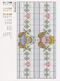 Cross-stitch Teddy Boy/Girl Border...    Schema punto croce Teddie