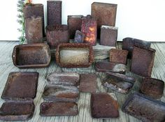 Square Rusty Cans Tins Scrap Metal Industrial by HighDesertRust
