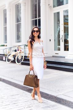 Stripe Top + White Pencil Skirt - Intermix top // Club Monaco skirt Steve Madden heels // Fendi bag // Ashley Pittman bangles Celine sunglasses // Michael Kors watch Wednesday, June 15, 2016