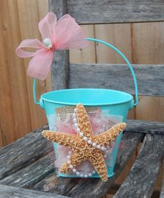 Aqua and Coral Flower Girl Bucket Starfish Wedding by OneFunDay