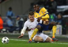 Eric Dier of Tottenham Hotspur tangles with Blaise Matuidi of Juventus during the UEFA Champions League Round of 16 Second Leg match between Tottenham Hotspur and Juventus at Wembley Stadium on March 7, 2018 in London, United Kingdom. - 52 of 110