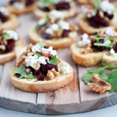 Crostini with earthy beets, creamy goat cheese, walnuts& arugula. Drizzled with a balsamic vinaigrette. Perfect appetizer for get togethers!