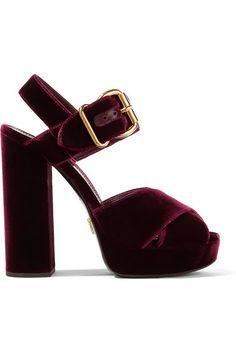 Prada - Velvet Platform Sandals - Burgundy - IT38.5