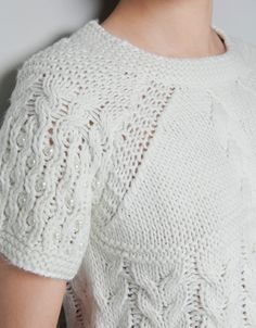 CABLE STITCH SWEATER WITH BEADED SLEEVES - Knitwear - Woman - ZARA Norway