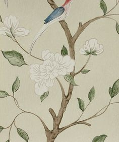 Wallpaper for bathroom -- idea--  Eleonora Wallpaper A beautiful wallpaper inspired by eighteenth century Swedish design, of frail branches with leaves and white flowers on a...