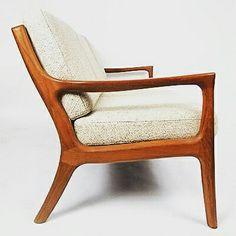 Teak wooden three seater sofa