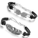 Aroncent Men Women Angel Wing Feather Charm Leather Bracelet Braided Wristband 2…