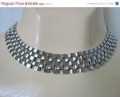 Vintage Retro Silvertone Retculated Woven Link Bib by JoysShop, $11.86