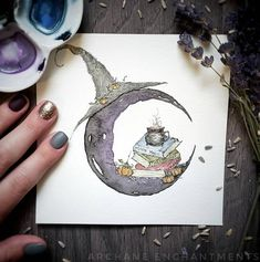 While reflecting on October I got the urge to create this piece. It's an ode to the end of October and the beginning of November. A warm… Watercolor Moon, Abstract Watercolor Art, Watercolor Paintings, Watercolours, Watercolor Paper, Witch Decor, Halloween Illustration, Painted Jars, Hand Painted