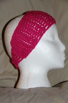 Crochet Unisex Teen/Adult headband earwarmer fits most - HOT BREAST CANCER PINK #homemade #earwamerheadband #pmscrafts74