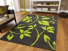 Luxury New Fashion Contemporary Rugs For Living Room 5x8 Modern Leaves Rugs For Brown Sofa 5 x 7 Rugs for Bedroom for Teens Green Flower with Grey Background Carpet 5x8 Rugs -- Details can be found by clicking on the image.