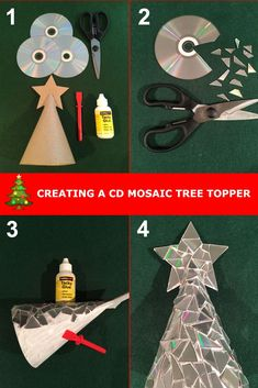 Make your Christmas tree sparkle by creating a CD mosaic Christmas tree topper. Step by step guide for up Make your Christmas tree sparkle by creating a CD mosaic Christmas tree topper. Step by step guide for upcycling old CDs into Christmas decorations. Recycled Christmas Decorations, Recycled Christmas Tree, Xmas Tree Decorations, Christmas Tree Themes, Christmas Tree Toppers, Diy Christmas Ornaments, Christmas Projects, Kids Christmas, Elegant Christmas