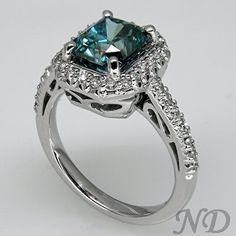 Blue Diamond Ring - want! Square Diamond Rings, Diamond Studs, Jewelry Rings, Jewelery, Colored Diamonds, Blue Diamonds, Dress Rings, Love Ring, Diamond Are A Girls Best Friend