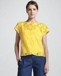 Gloriane Loose Lace Top by Alice + Olivia at Neiman Marcus.