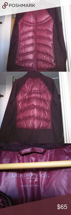 London Fog Down Puffer & Sweater Jacket XL Look fashion forward yet classic in this adorable on-trend puffer jacket. Made of 100% down?fill and stretch material for an easy and comfortable fit, this jacket is quick to become a cool-weather favorite! No trades. Make an offer, ya never know! London Fog Jackets & Coats Puffers
