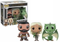 Amazon.com: Funko POP Game of Thrones Exclusive Vinyl Figure Set of 3 (Khal, Khaleesi & Rhaegal): Toys & Games