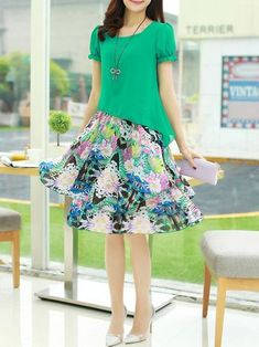 043ae47312 A-line Women Chiffon Short Sleeve Paneled Floral Casual Dress