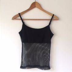 cce6f012cec50 Black mesh top with spaghetti straps. No size label will fit sizes 6-8