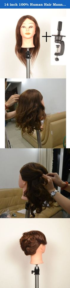 14 inch 100% Human Hair Mannequin Manikin Hair Cutting and Braiding Professional Training Cosmetology Head with Real Virgin Human Hair. Human Hair Mannequin Manikin.