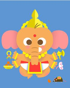 Ganesha by Sanjay Patel via kumaridesign.wordpress: A modern twist to traditional concepts of Hinduism. #Illustration #Ganesha #Sanjay_Patel