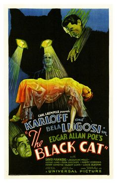 "Movie poster, ""The Black Cat"", starring Boris Karloff and Bela Lugosi,1934"