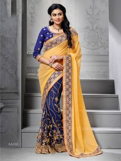 e9cef24cbbe6b Blue with Yellow Designer Embroidered Festival Wear Saree for Diwali Indian  Wedding Sari