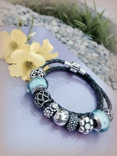 PANDORA Braided Leather Bracelet with Ice Blue Murano ♡