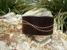 Brown leather cuff/upcycled leather cuff by longshotleather