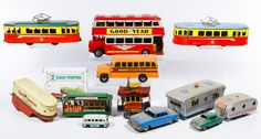 Lot 579: Toy Trolley, Trailer and Bus Assortment; Including lithographed tin, pressed metal and plastic buses, cars, trolleys and trailers with examples marked Toonerville Trolley by Fontain Fox, Made in Japan and Gatex