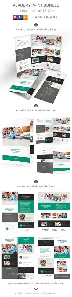 Academy Bifold \/ Halffold Brochure Brochures and Brochure template - product manual template
