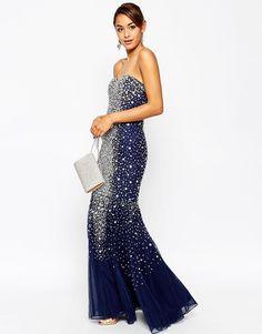 d7b67ab063 ASOS RED CARPET Embellished Bandeau Crystal Tulle Maxi Dress UK 10 EU 38 US