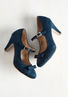 Live in the Presents Heel in Navy - Blue, Solid, Bows, Party, Vintage Inspired, 40s, 50s, Mary Jane, Variation