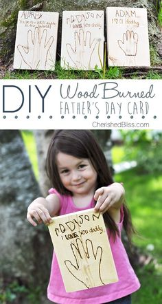 Creative and Cool Father's Day Card Crafts | DIY Wood Burned Father's Day Card by DIY Ready at http://diyready.com/21-diy-fathers-day-cards/