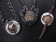 Mixed Media, Richard Salley, Artist, Pendants, 2010, all three pendants have a focal piece made of recycled, repourposed watchcases, in addition a variety of elements were included (on some or all of the pendants);  copper, hand fabricated, chain, ICE resin, Faux Bone, jar lid, etc.