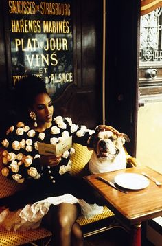 Deon Bray at Brasserie Lipp- Parisian Cafés in Vogue and at Chanel