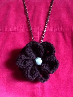 Blossom flower pendant with turquoise beading on by LaceryModerne
