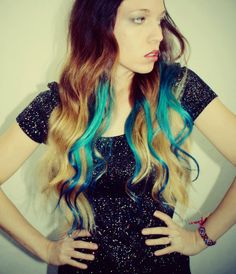 Ombre Turquoise Blue Tip Dyed Hair Extensions Dark Brown/Black, 22 inches long, Clip In Hair Extensions, Hippie Hair, Dipped Dyed Hair. $85.00, via Etsy.
