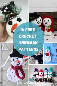 We have Crochet Snowman patterns to hang as tree ornamnets, use as table top decor, create cozy homewares, fun new designs for cards and gift bags, festive bunting and more. #free #crochetpatterns #snowman #crochetkim