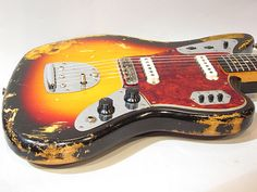 1963 Fender Jaguar Guitar Amp, Cool Guitar, Fender Jaguar, Vintage Guitars, Acoustic, Bass, Music Instruments, Electric Guitars, Planks