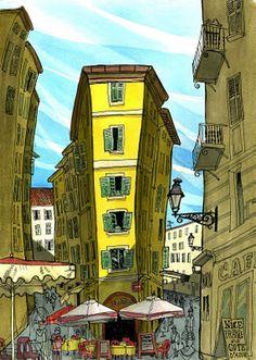 A Urban Sketchers (USK) é uma organização sem fins lucrativos dedicada à divulgação dos desenhos e ilustrações locais, promovendo a sua prática e conectando pessoas em todo o mundo -  desenho do americano Tommy Kane em viagem por Nice na França.
