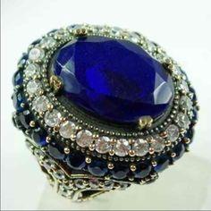 Turkish 925 sterling silver ring Turkish Sapphire Topaz 925K Sterling Silver Ring Size 8.5 Jewelry Rings