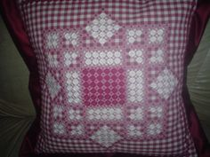 Image 3 Spanish Embroidered cushion - groups. Chicken Scratch Embroidery, Embroidered Cushions, Give It To Me, How To Make, Embroidery Designs, Ribbon Embroidery, Smocking, Gingham, Diy And Crafts