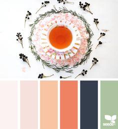Color Sip via @designseeds #designseeds #seedscolor #color #colorpalette #color #palette #colour #colourpalette #tea #peach #orange #navy #blue #sage