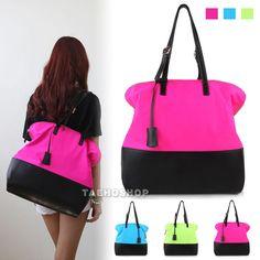 NEW Women's Fashion Style Trendy Handbag Neon Color SATCHEL SHOULDER TOTE BAG  #Handmade #ShoulderBag