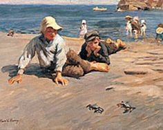 Harold Harvey 1874 - 1941 Sport on the Shore – A Crab Race British Sports, First Day Of Summer, Art Store, Beach Art, Your Paintings, Art For Kids, Art Children, Art Gallery, Racing