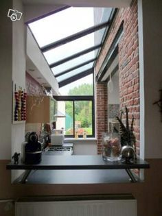 Side extension, again showing exposed lintel steel and exposed brick Side Extension, Glass Extension, Extension Ideas, Victorian Terrace, Victorian Homes, Interior Architecture, Interior And Exterior, Interior Design, Glass Roof
