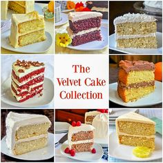 The Velvet Cake Collection – A light textured Red velvet + 8 inspired flavors This velvet cake collection was inspired by a great red velvet cake & includes lemon, orange, lime, chocolate and raspberry velvet versions of this recipe. Lemon Velvet Cake, White Velvet Cakes, Red Velvet, Lemon Recipes, Sweet Recipes, Cake Recipes, Dessert Recipes, Cake Cookies, Cupcake Cakes