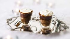 Irish coffee cups - warm coffee cakes served in teacups, with a whiskey sauce and whipped cream – Rachel Allen's playful dessert is a perfect end to your dinner party Rachel Allen, Irish Coffee, Whiskey Sauce, Good Food Channel, Roasting Tins, English Food, Cake Servings, Caramel, Eten